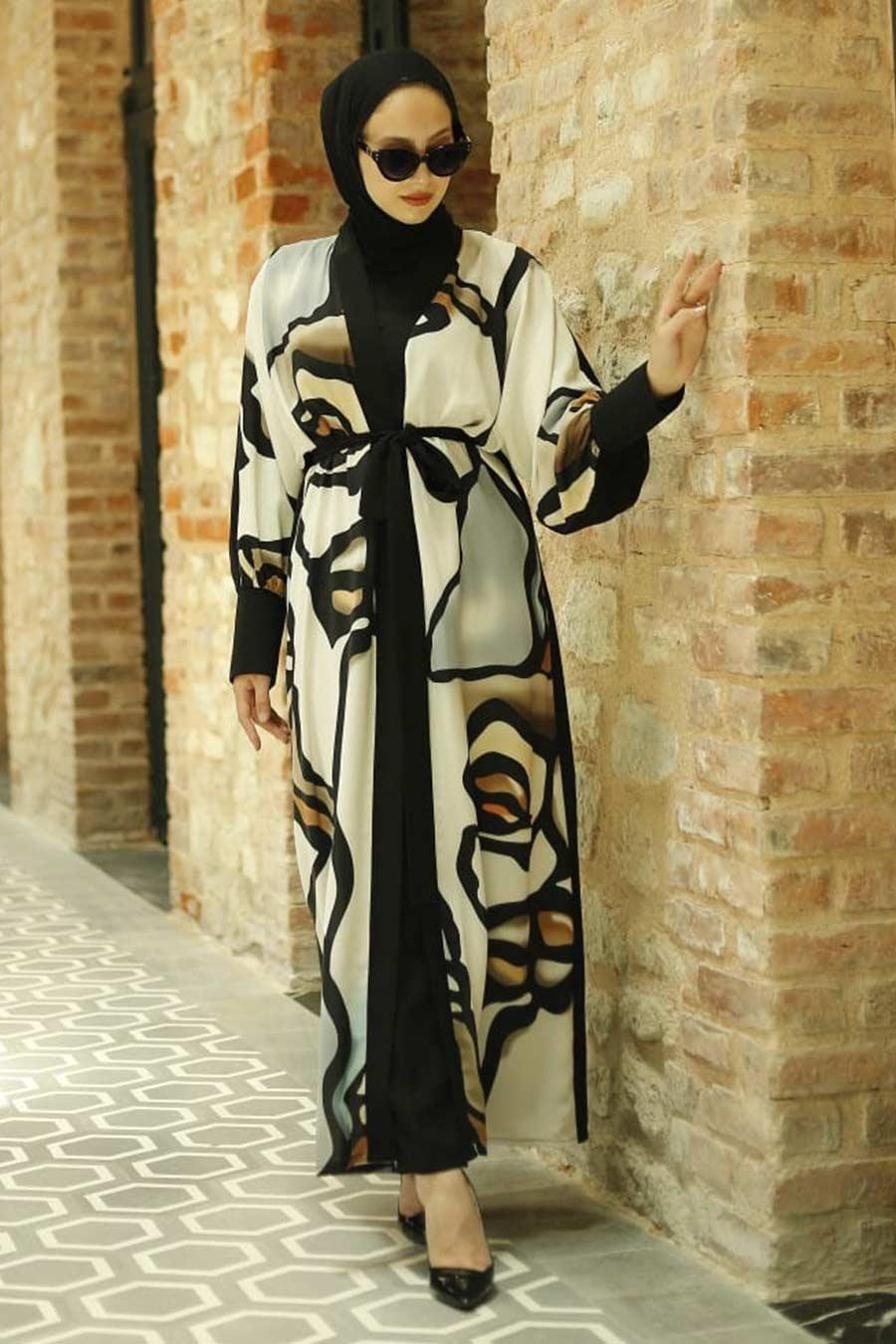 Neva Style - Desenli Ekru Tesettür Kimono 33282E