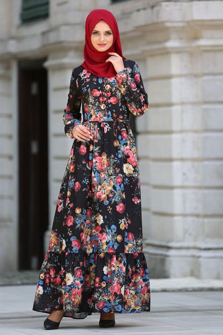 Neva Style - Desenli Fırfırlı Siyah Tesettür Elbise 41601S