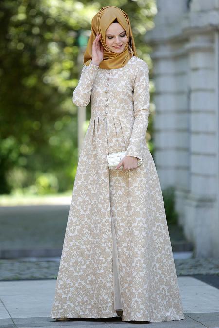 Neva Style - Desenli Gold Elbise