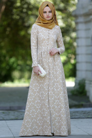 Neva Style - Desenli Gold Elbise - Thumbnail