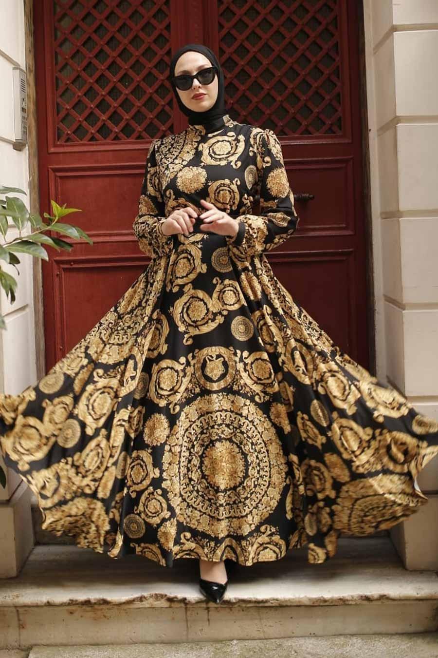 Neva Style - Desenli Gold Tesettür Elbise 3377GOLD