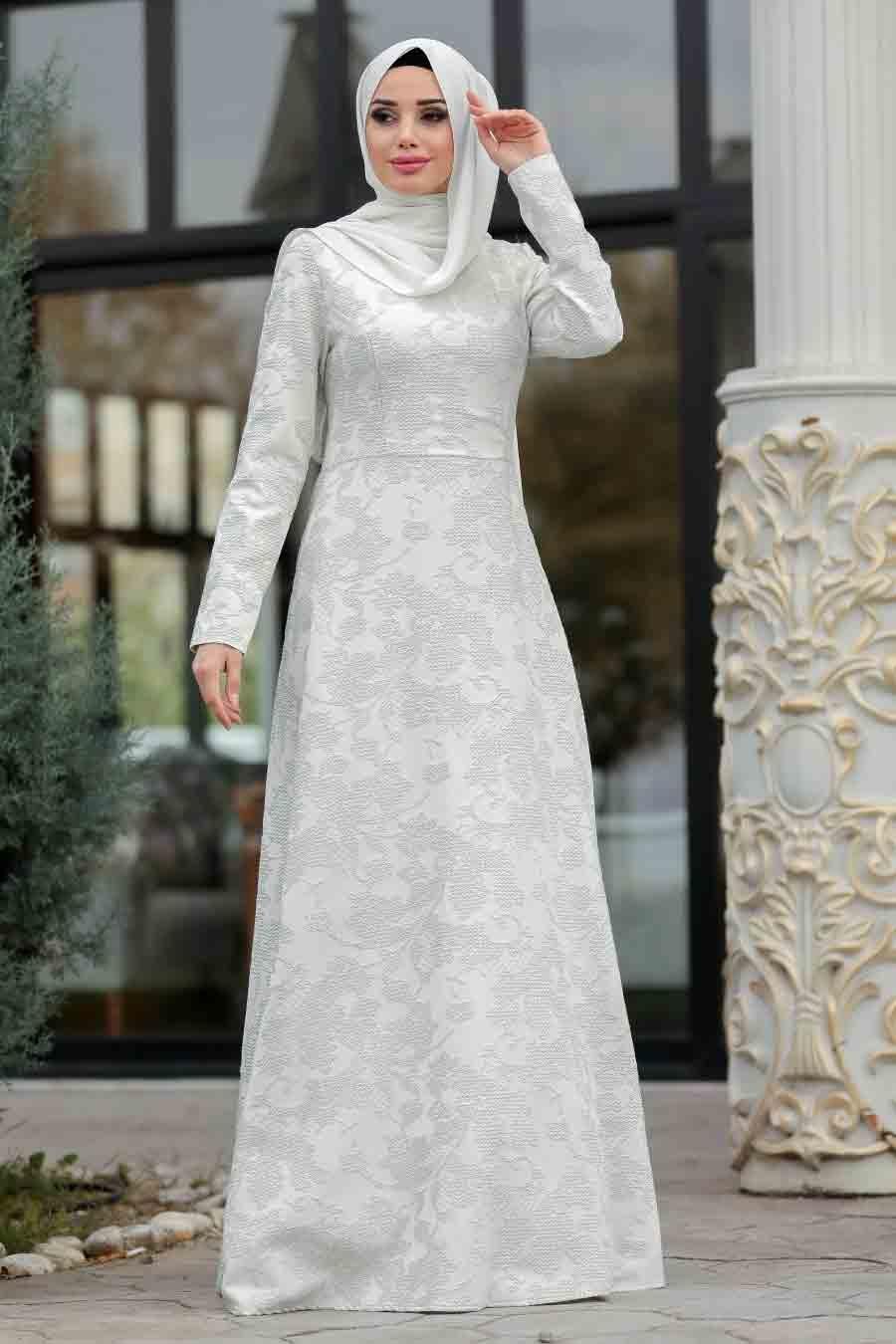 Neva Style - Desenli Gri Tesettür Abiye Elbise 2651GR
