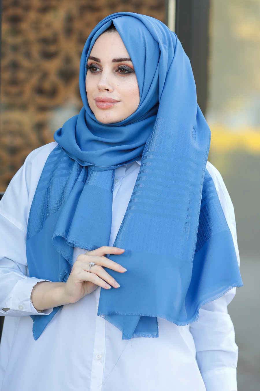 Neva Style - Desenli İndigo Mavisi Şal 7560IM