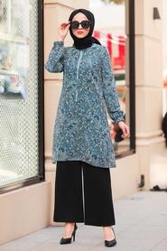 Neva Style - Desenli İndigo Mavisi Tesettür Tunik 30260IM - Thumbnail