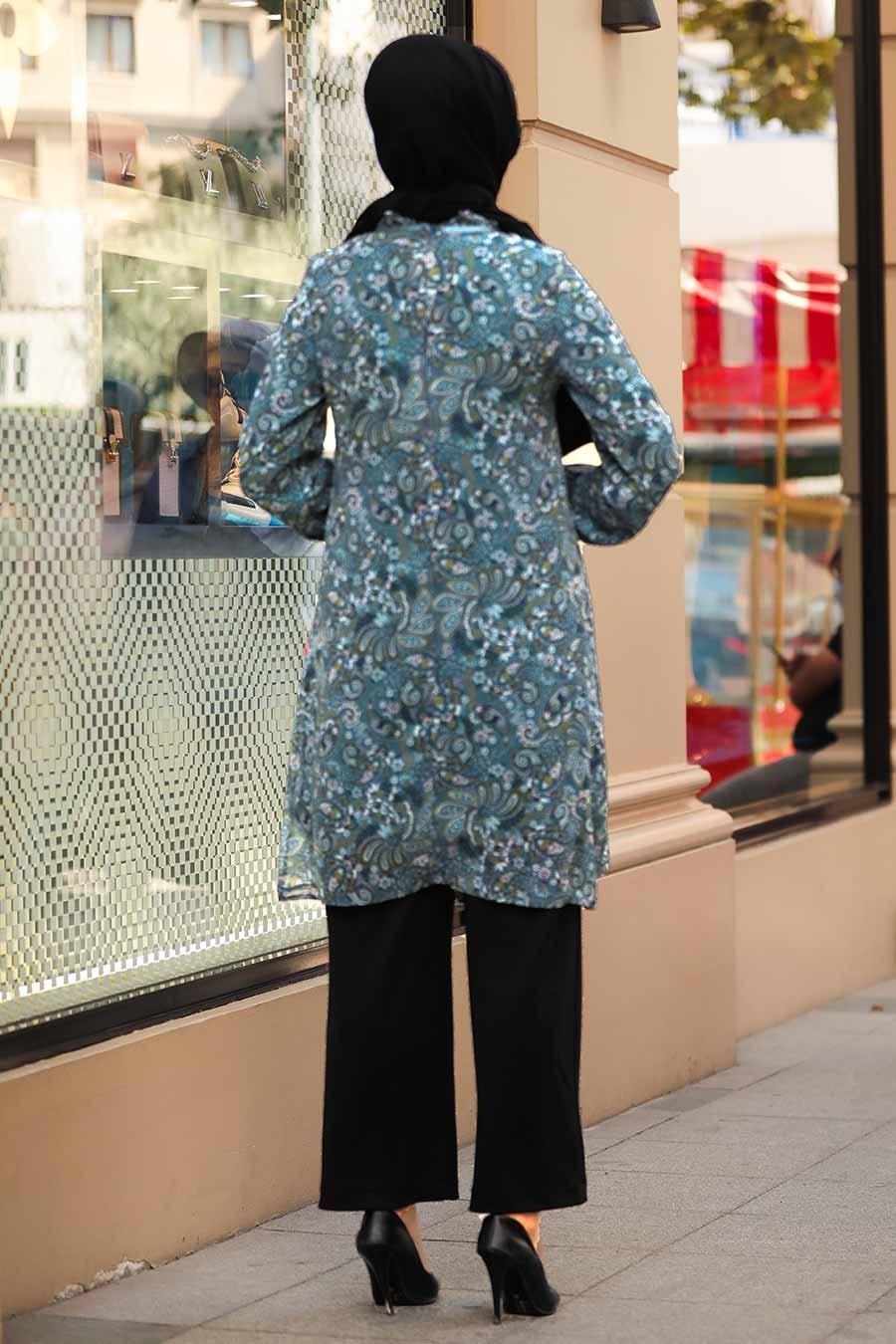 Neva Style - Desenli İndigo Mavisi Tesettür Tunik 30260IM