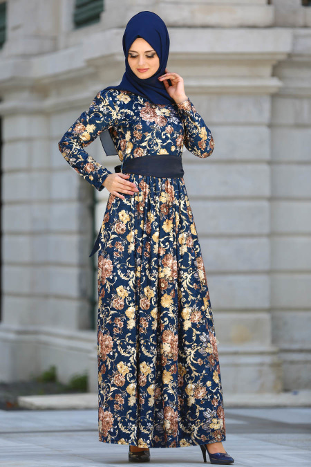 Neva Style - Desenli Kahverengi Kadife Tesettür Elbise 20930KH