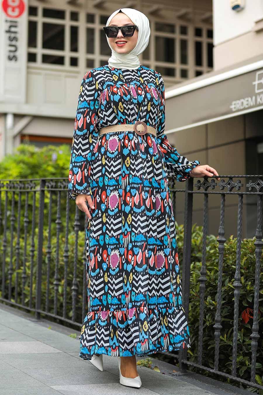 Neva Style - Desenli Mavi Tesettür Elbise 51491M