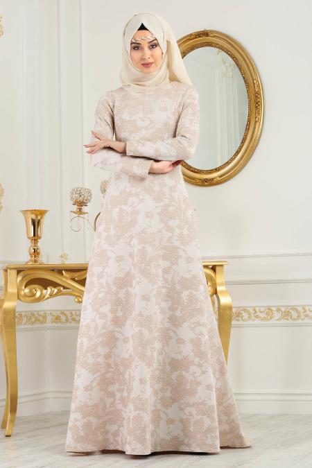 Neva Style - Desenli Pudra Tesettür Abiye Elbise 2651PD