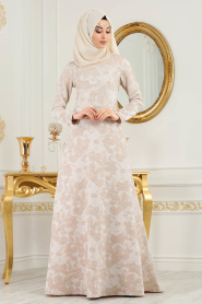 Neva Style - Desenli Pudra Tesettür Abiye Elbise 2651PD - Thumbnail