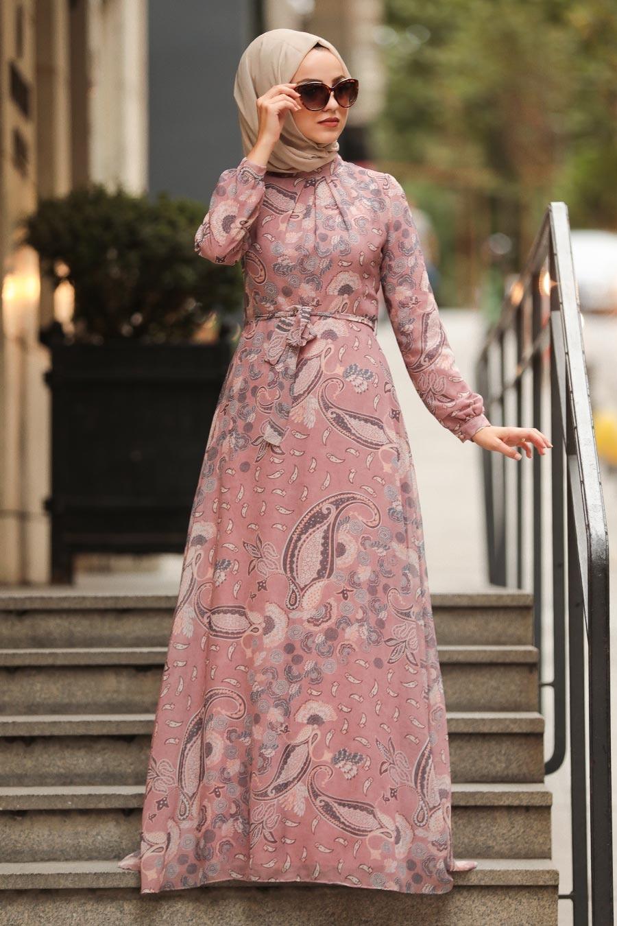 Neva Style - Desenli Pudra Tesettür Elbise 81549PD