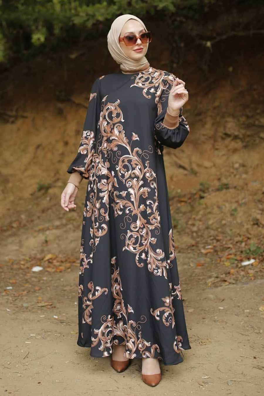 Neva Style - Desenli Siyah Tesettür Elbise 3385S