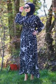Neva Style - Desenli Siyah Tesettür Elbise 46090S - Thumbnail