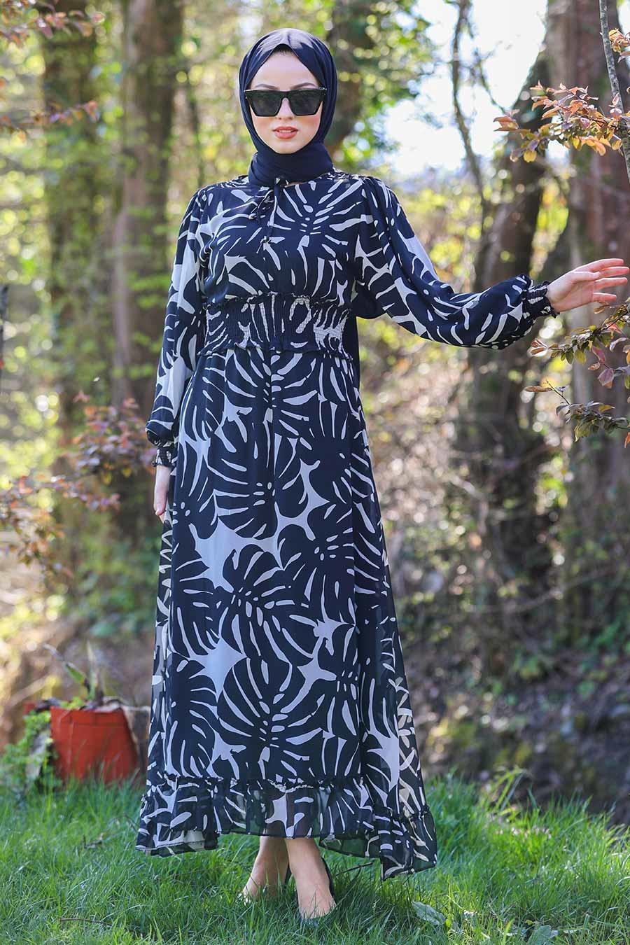 Neva Style - Desenli Siyah Tesettür Elbise 46090S