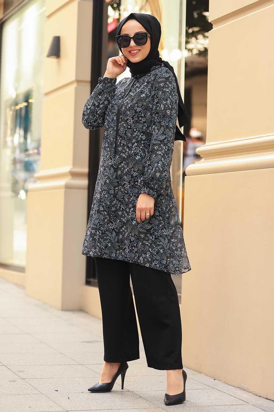 Neva Style - Desenli Siyah Tesettür Tunik 30260S