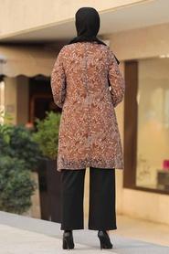 Neva Style - Desenli Taba Tesettür Tunik 30260TB - Thumbnail