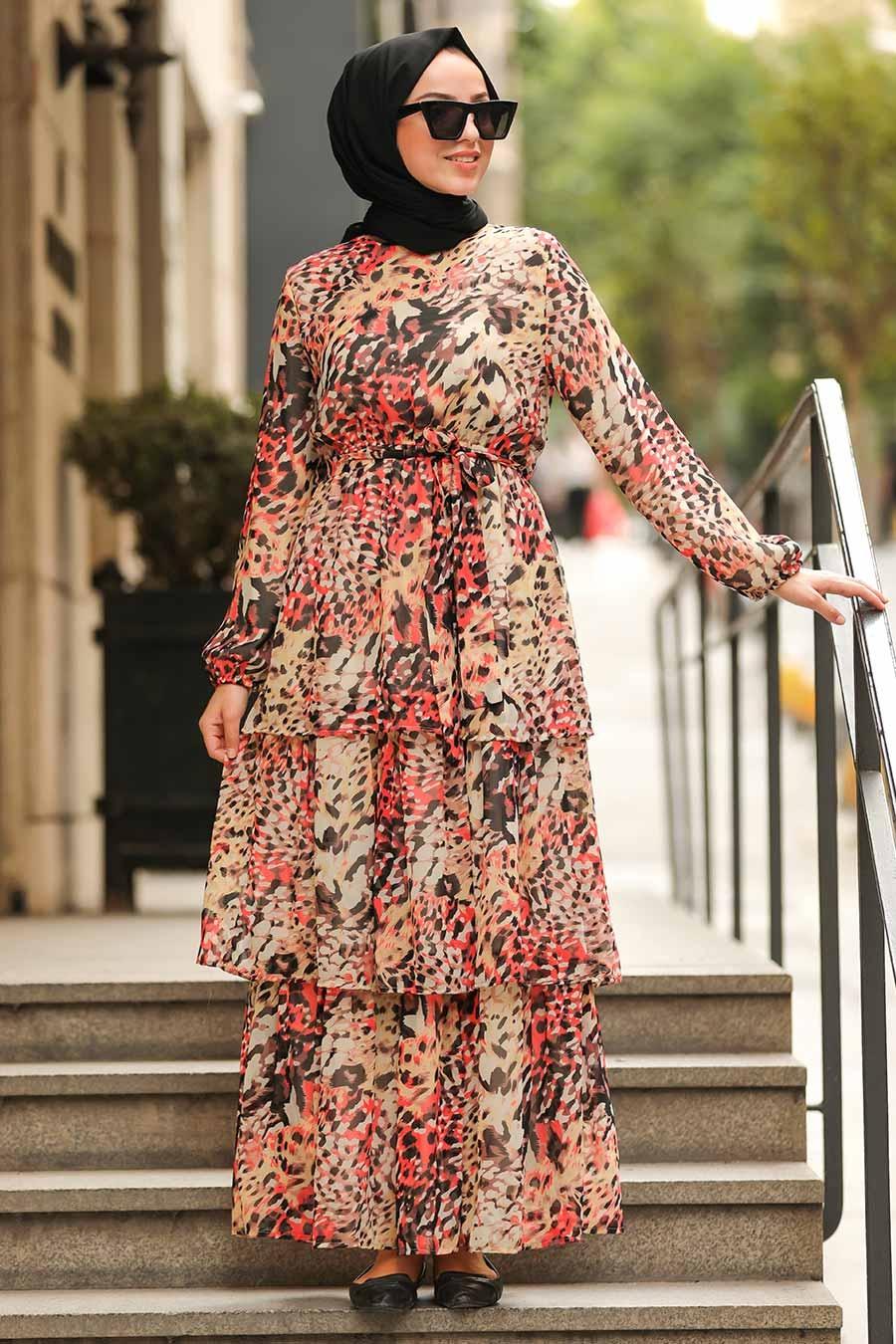 Neva Style - Desenli Tesettür Elbise 8539DSN