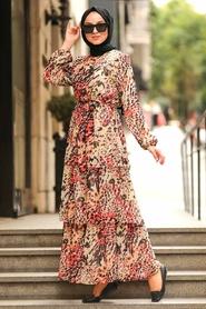 Neva Style - Desenli Tesettür Elbise 8539DSN - Thumbnail