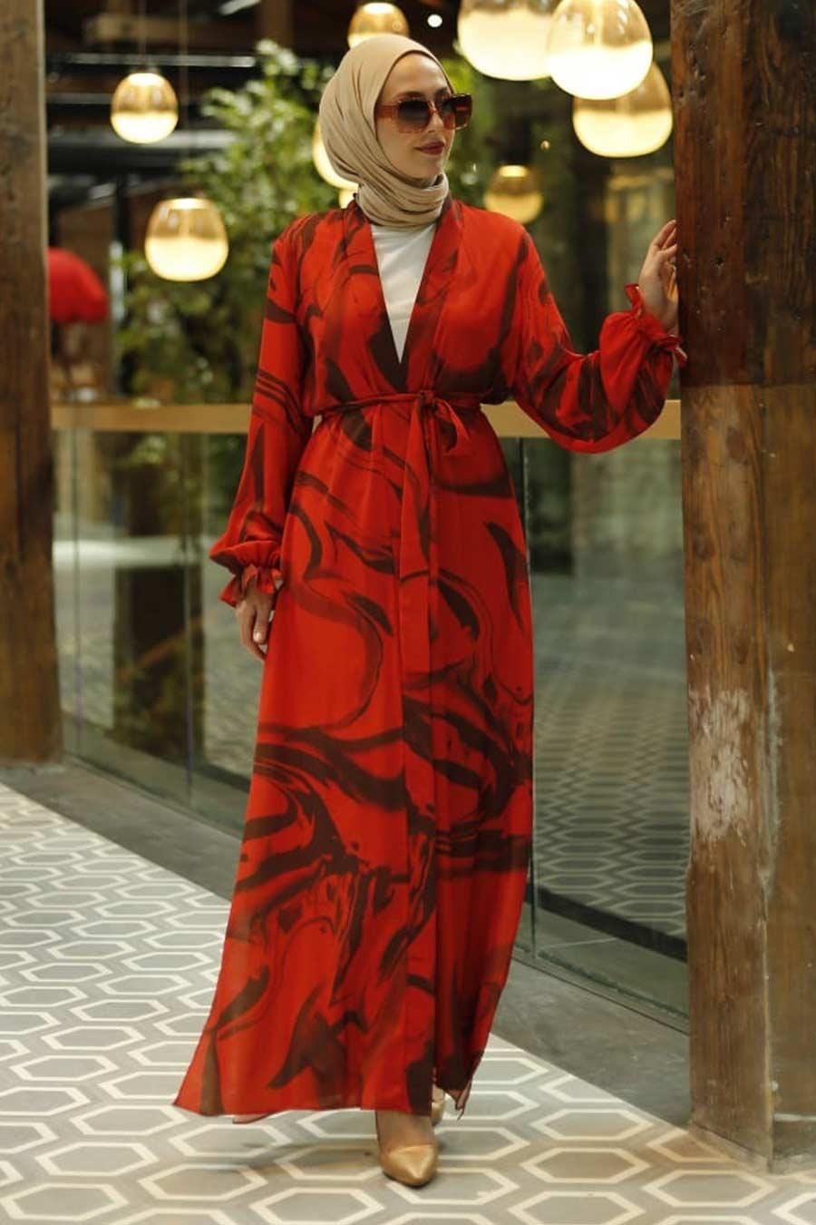 Neva Style - Desenli Turuncu Tesettür Kimono 33281T