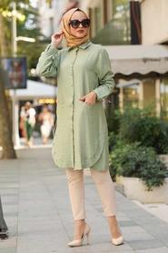Neva Style - Düğme Detaylı Fıstık Yeşili Tesettür Gömlek 38440FY - Thumbnail