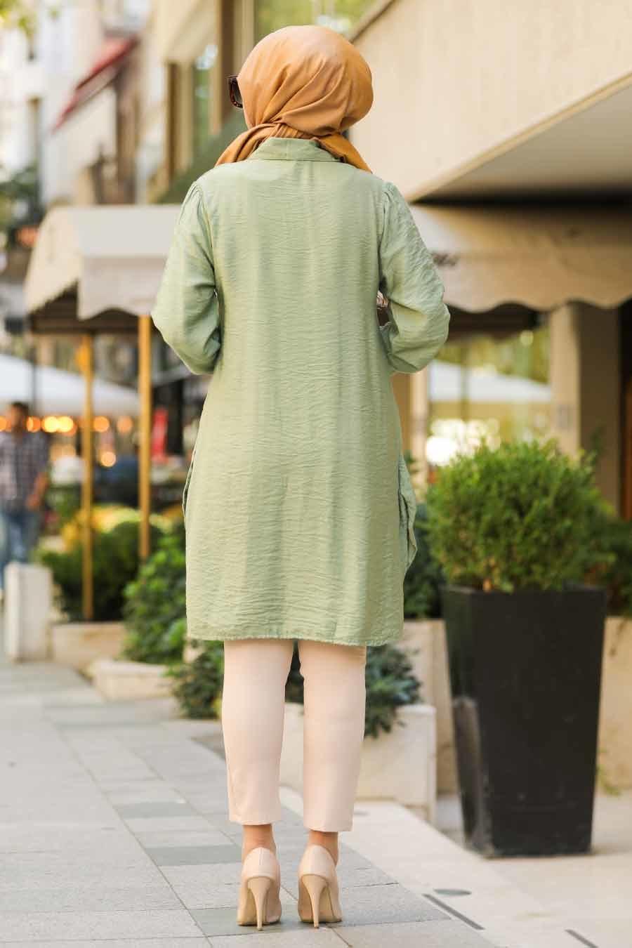 Neva Style - Düğme Detaylı Fıstık Yeşili Tesettür Gömlek 38440FY