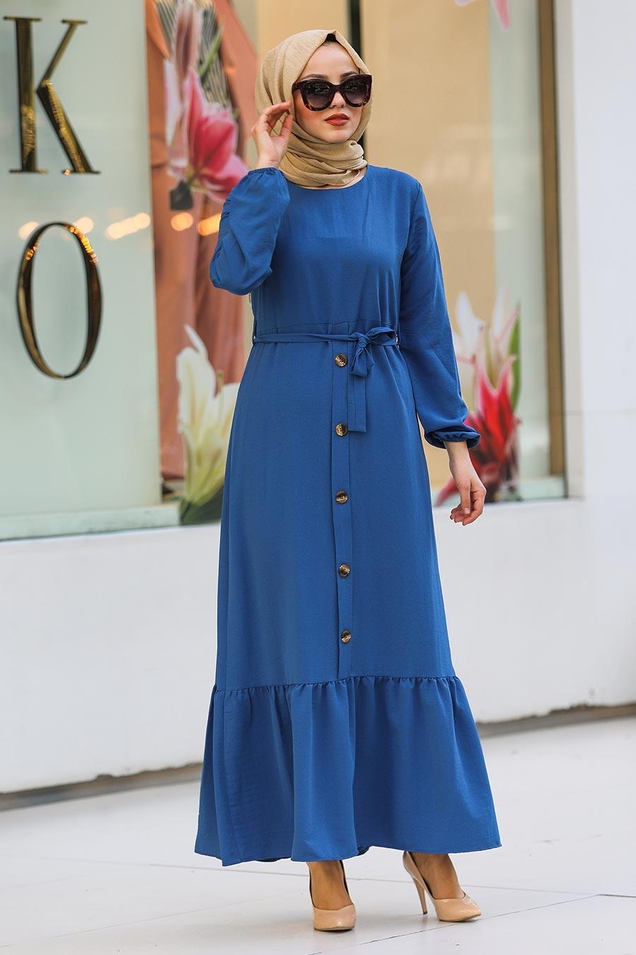 Neva Style - Düğme Detaylı Koyu İndigo Mavisi Tesettür Elbise 472IM