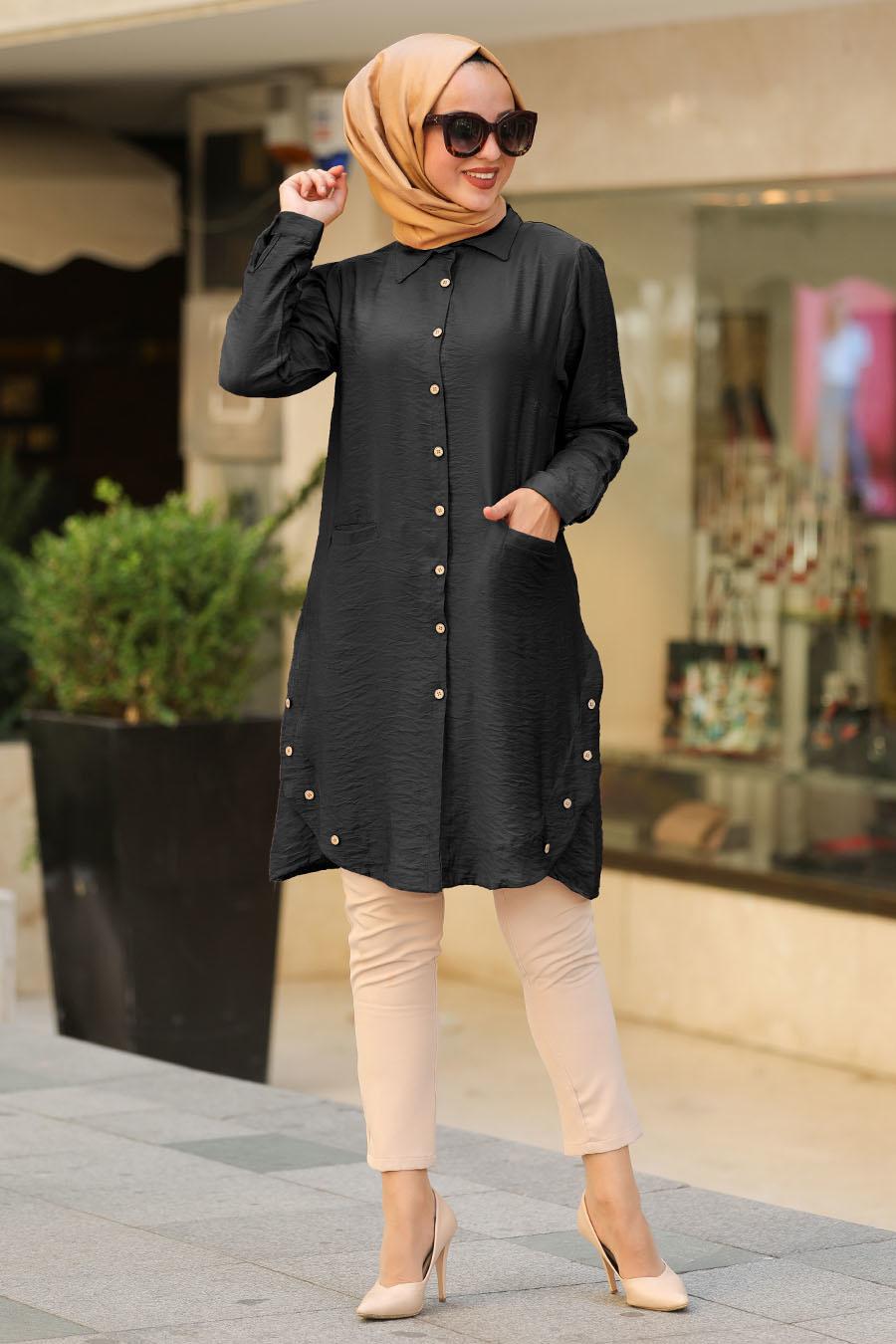 Neva Style - Düğme Detaylı Siyah Tesettür Gömlek 38440S