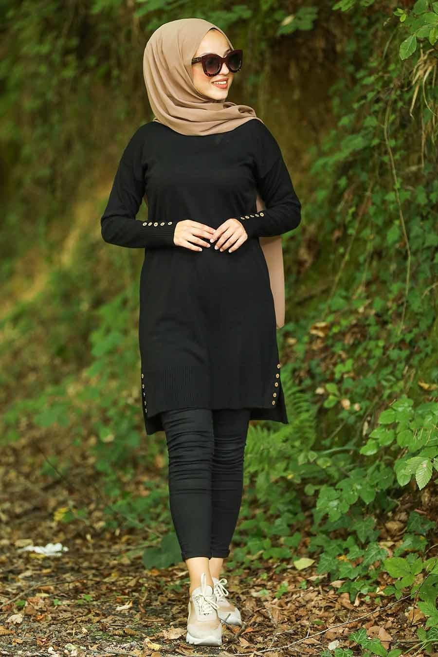 Neva Style - Düğme Detaylı Siyah Tesettür Triko Tunik 210301S