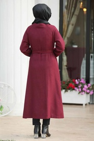 Neva Style - Düğmeli Bordo Tesettür Kaşe Kap 5505BR - Thumbnail