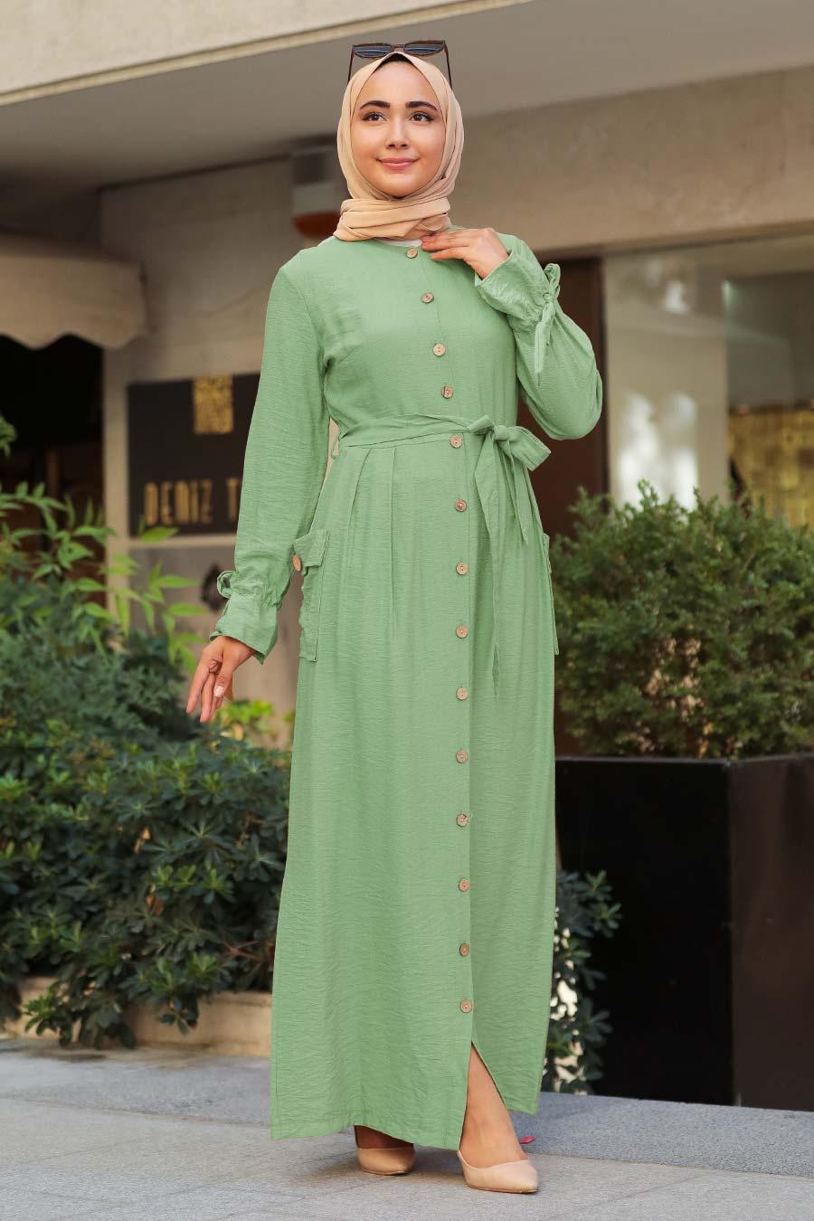 Neva Style - Düğmeli Çağla Yeşili Tesettür Elbise 3335CY