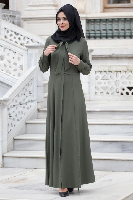 Neva Style - Düğmeli Haki Elbise