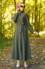 Neva Style - Düğmeli Haki Tesettür Elbise 534HK - Thumbnail
