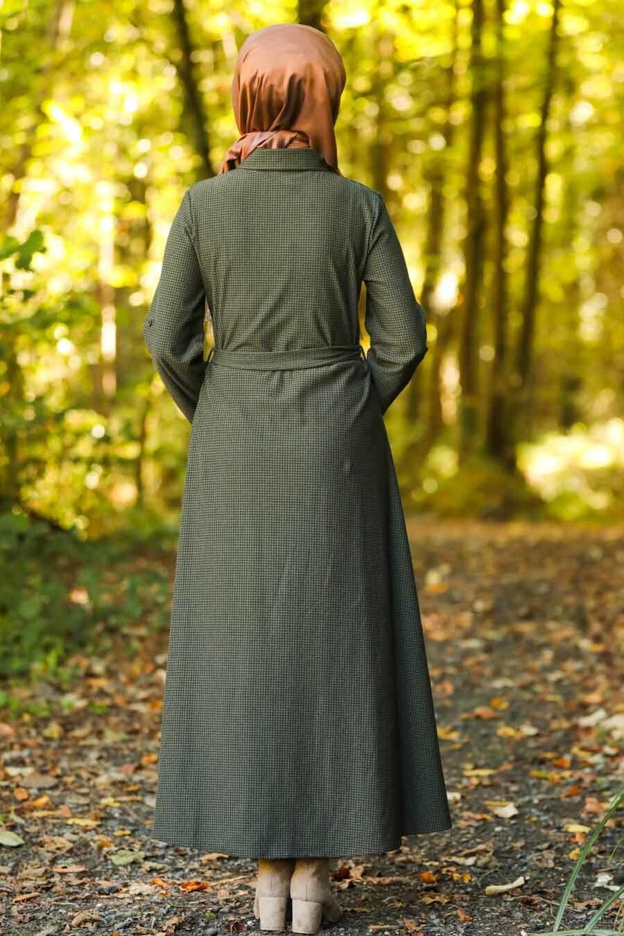 Neva Style - Düğmeli Haki Tesettür Elbise 534HK