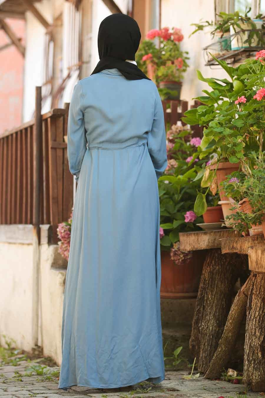 Neva Style - Düğmeli İndigo Mavisi Tesettür Elbise 2973IM