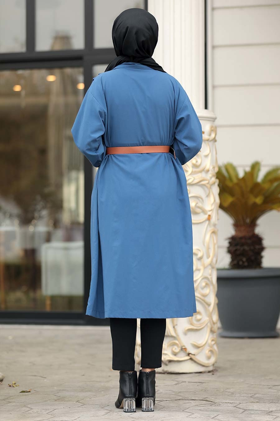 Neva Style - Düğmeli İndigo Mavisi Tesettür Kap 5482IM