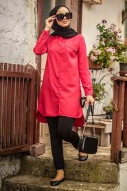 Neva Style - Düğmeli Kırmızı Tesettür Tunik 34230K - Thumbnail