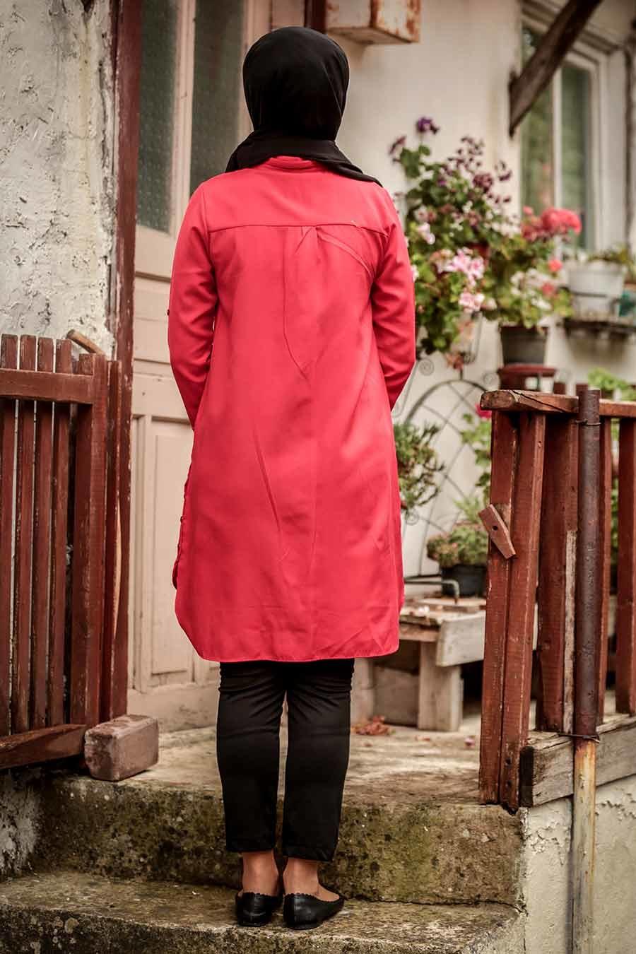 Neva Style - Düğmeli Kırmızı Tesettür Tunik 34230K