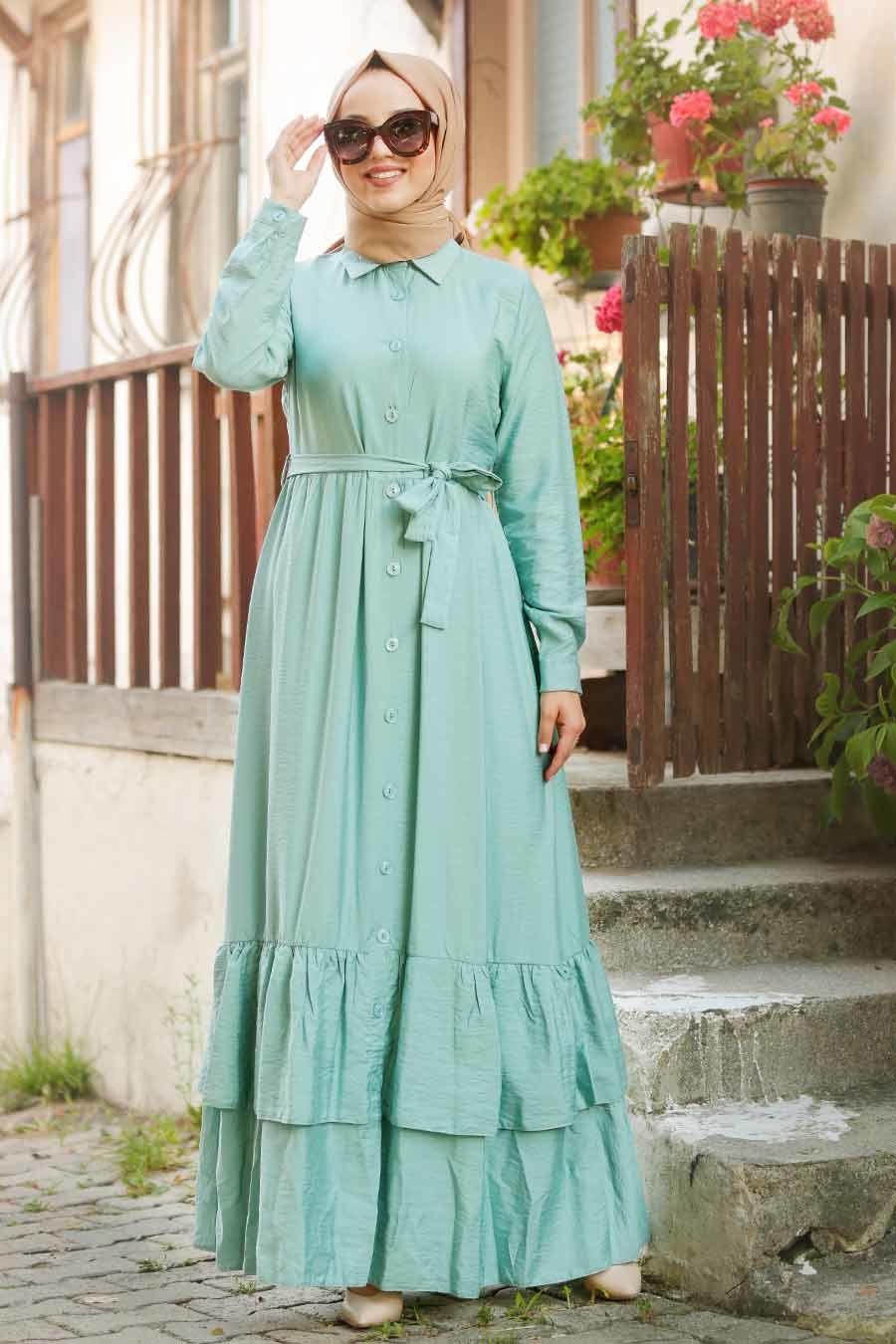 Neva Style - Düğmeli Mint Tesettür Elbise 42820MINT