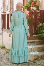 Neva Style - Düğmeli Mint Tesettür Elbise 42820MINT - Thumbnail