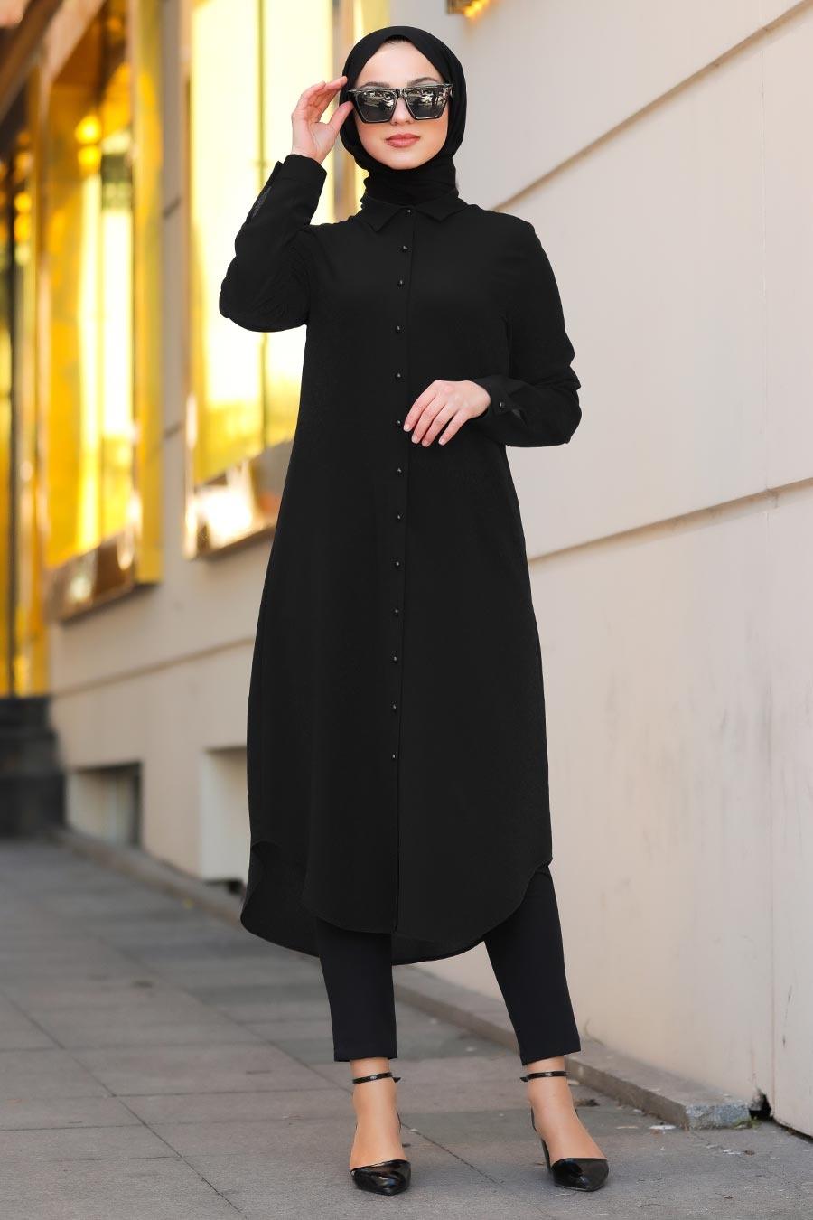 Neva Style - Düğmeli Siyah Tesettür Tunik 4000S