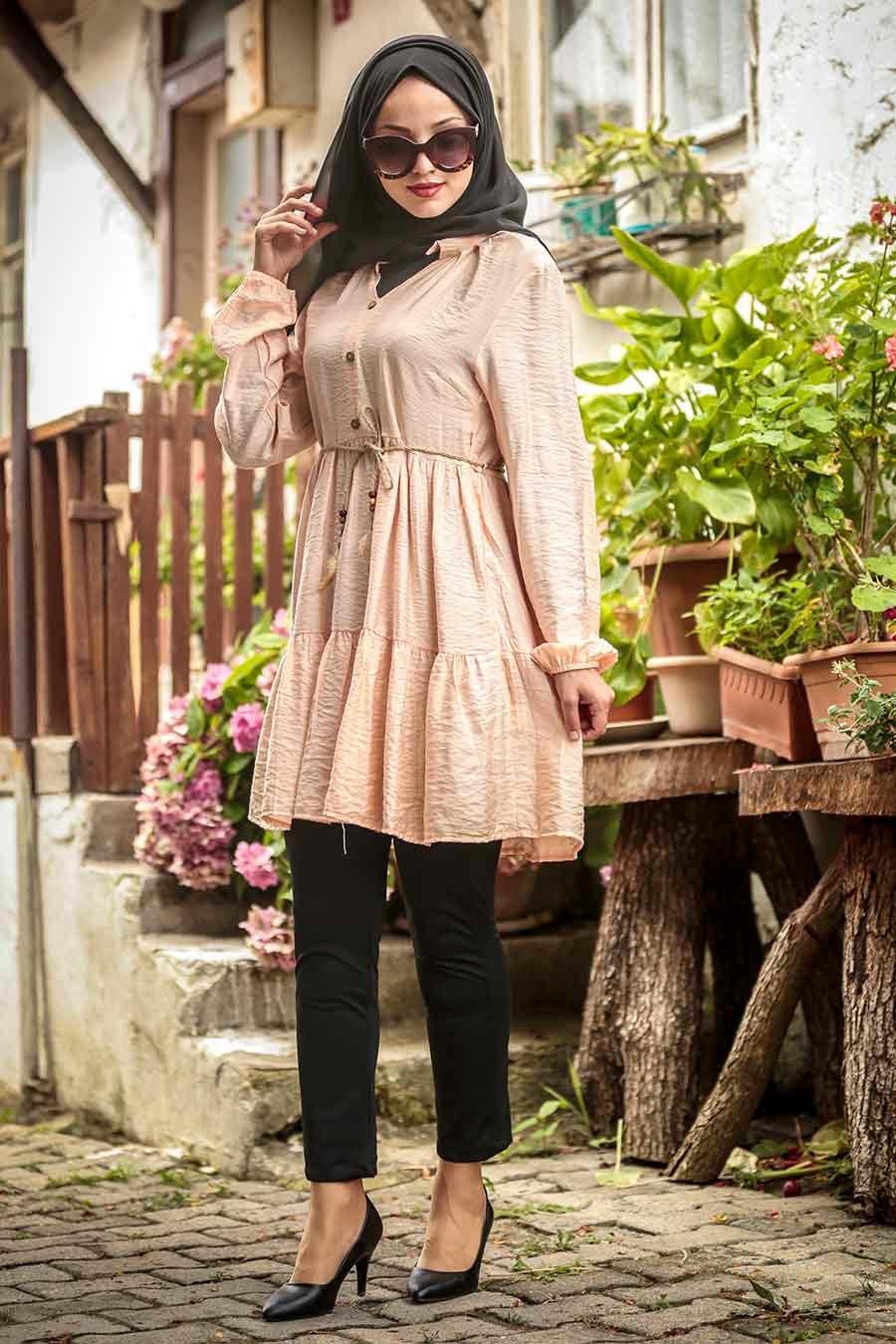 Neva Style - Düğmeli Somon Tesettür Tunik 38990SMN