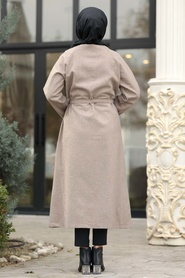 Neva Style - Düğmeli Vizon Tesettür Kaşe Kap 5505V - Thumbnail