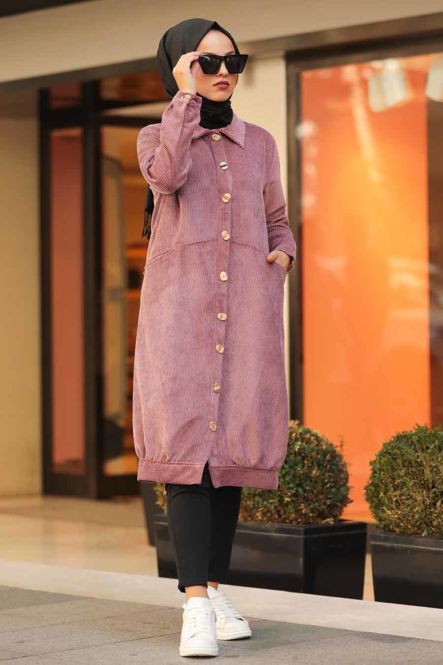 Neva Style - Dusty Rose Hijab Coat 9075GK