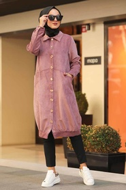 Neva Style - Dusty Rose Hijab Coat 9075GK - Thumbnail