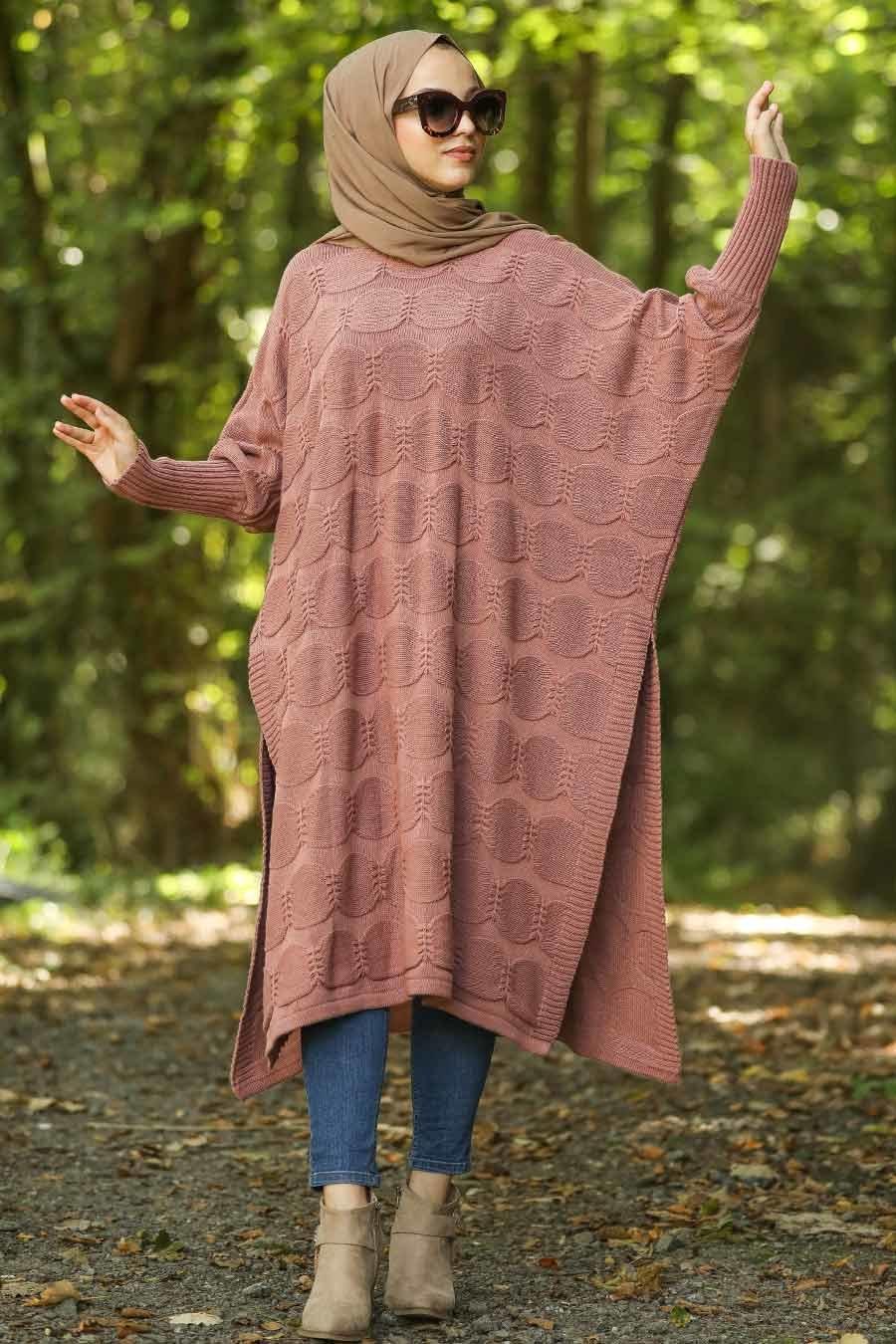 Neva Style - Dusty Rose Hijab Knitwear Poncho 15652GK