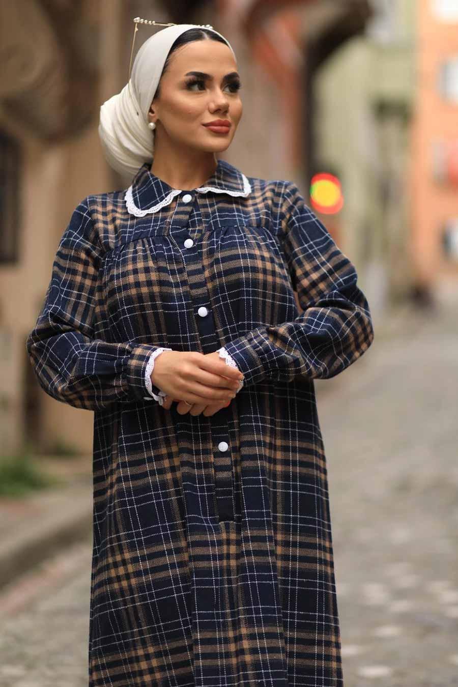 Neva Style - Ekoseli Bisküvi Tesettür Elbise 4681BS