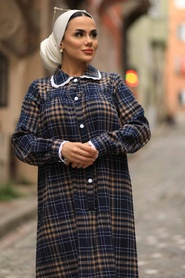 Neva Style - Ekoseli Bisküvi Tesettür Elbise 4681BS - Thumbnail