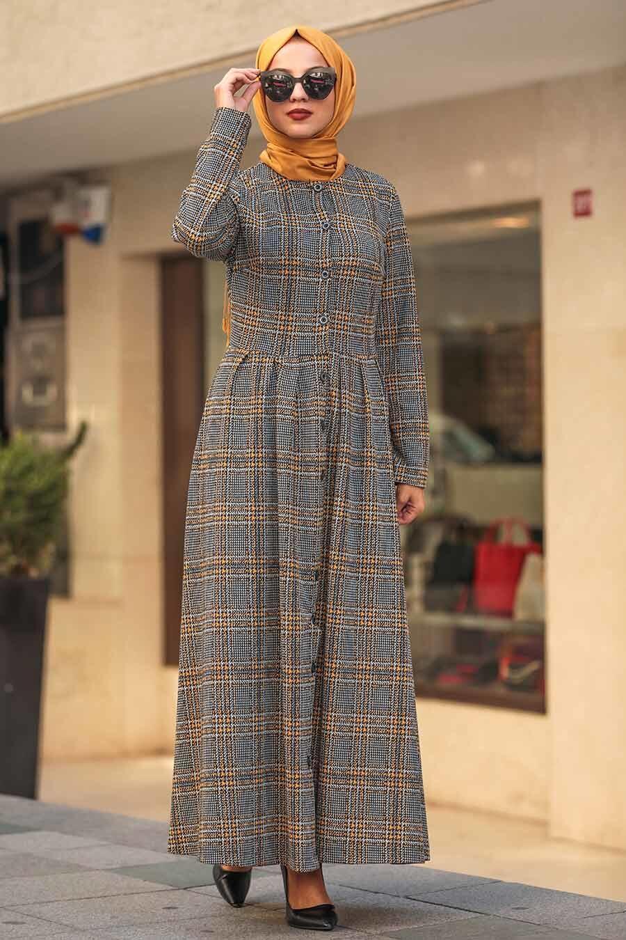 Neva Style - Ekoseli Hardal Tesettür Elbise 75901HR