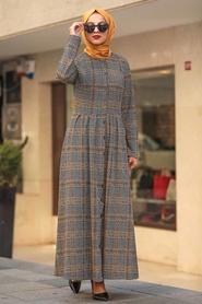 Neva Style - Ekoseli Hardal Tesettür Elbise 75901HR - Thumbnail