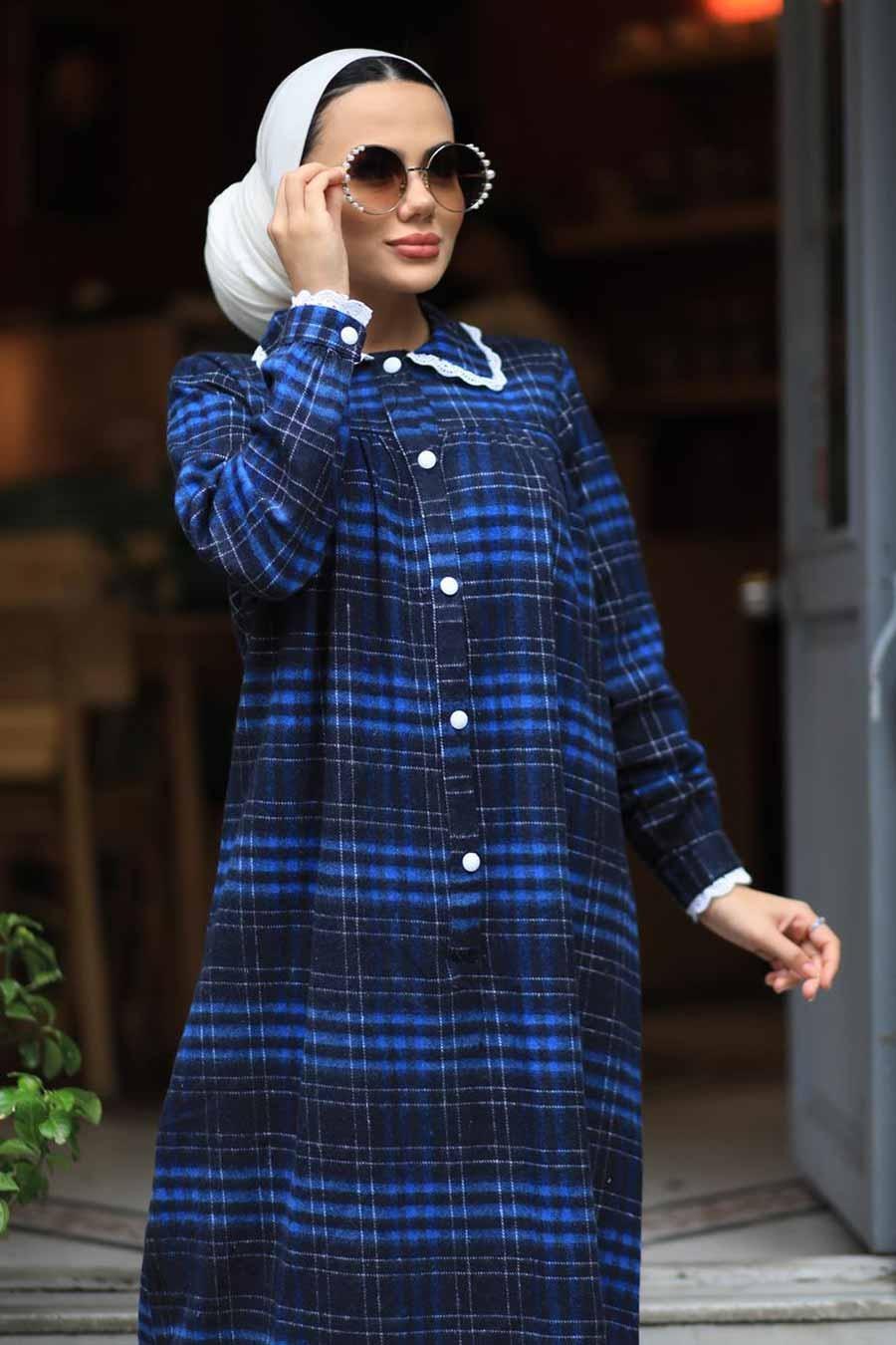 Neva Style - Ekoseli İndigo Mavisi Tesettür Elbise 4681IM