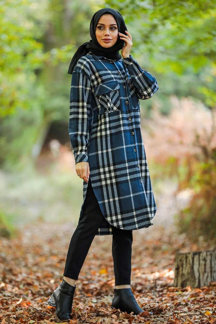Neva Style - Ekoseli İndigo Mavisi Tesettür Tunik 55790IM